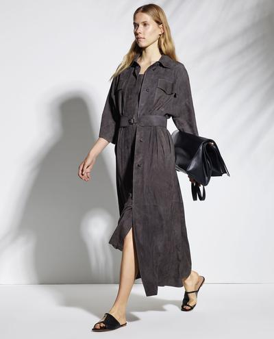 Jocasta Light Suede Long Shirt Dress 1010029331093