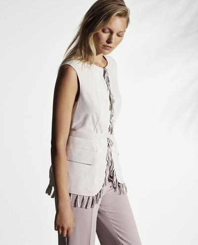 Andromeda Light Suede Vest With Fringes 1010029328003