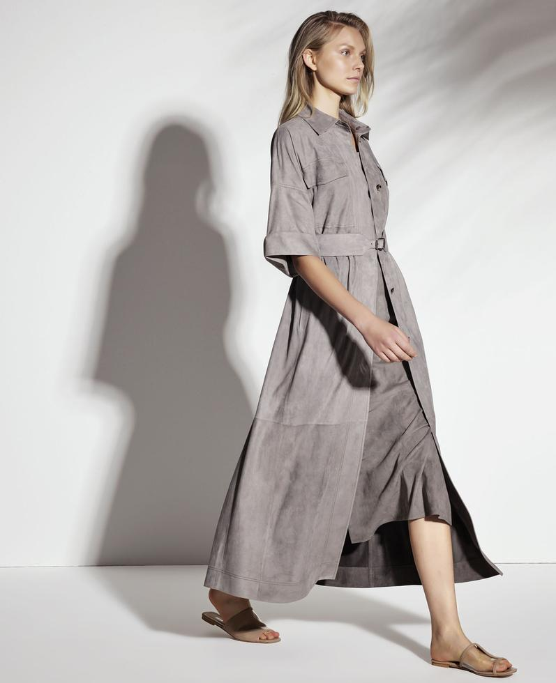 Jocasta Light Suede Long Shirt Dress 1010029331013