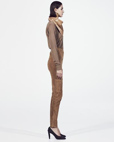 Leather stretch suede pants | K12977 1010031677021
